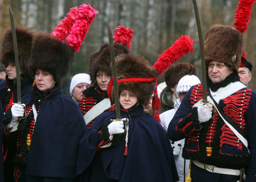 Re-burial ceremony of French soldiers who died in the 1812 Battle of Berezina. Photo by Julia Darashkevich