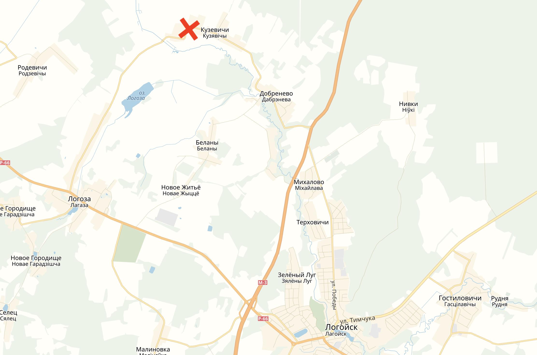 Красным цветом указано расположение кратера с эпицентром в д. Кузевичи, возле которой была пробурена первая скважина. Илькевич уверен, что метеорит упал именно у этой деревни, а не у Малиновки, как пишет «Википедия». Фото: «Наша Нiва»